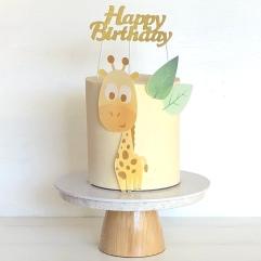 giraffe printed image cake