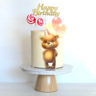 teddy bear printed image cake