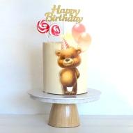 teddy bear printed image cake